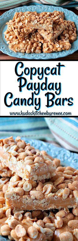 Vertical collage images of copycat payday candy bars on a blue scalloped plate.