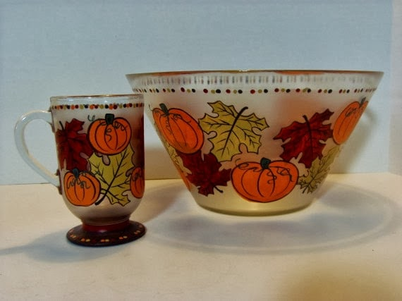 Autumn leaf and Pumpkin  painted serving pieces