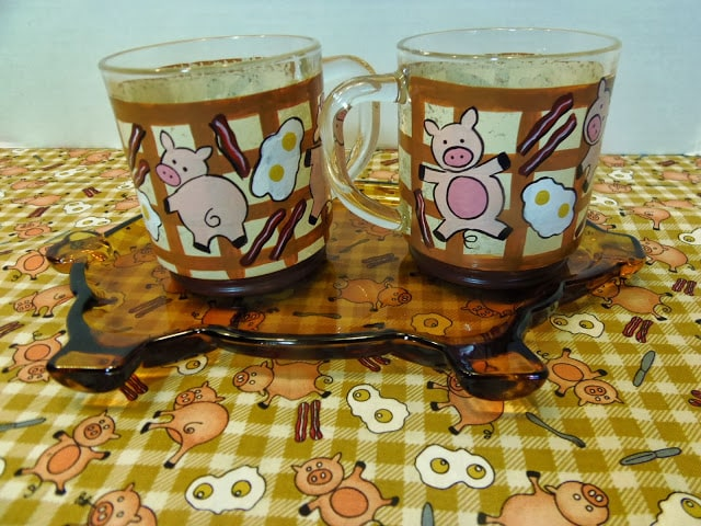 Pig and bacon painted coffee cups