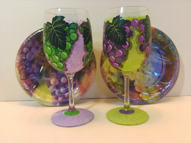 Custom Coordinated Hand Painted Grapes wine glasses