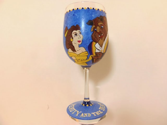 Beauty and the Beast painted wine glass