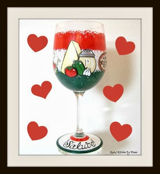 Italian themed wine glass