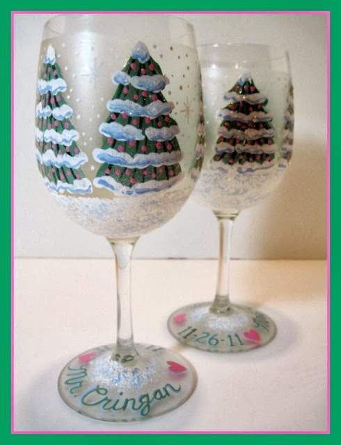 Christmas Tree Wedding Wine glasses