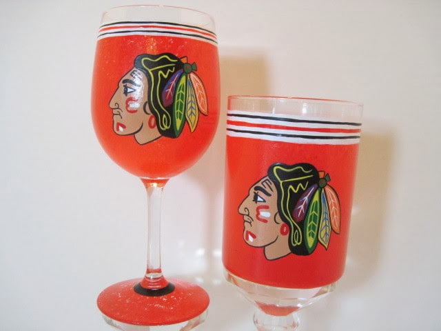 Chicago Blackhawks painted wine glass