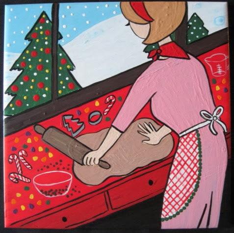 Christmas Baker Painted Ceramic Tile