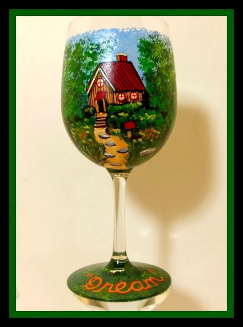 Fantasy Cottage Wine Glass