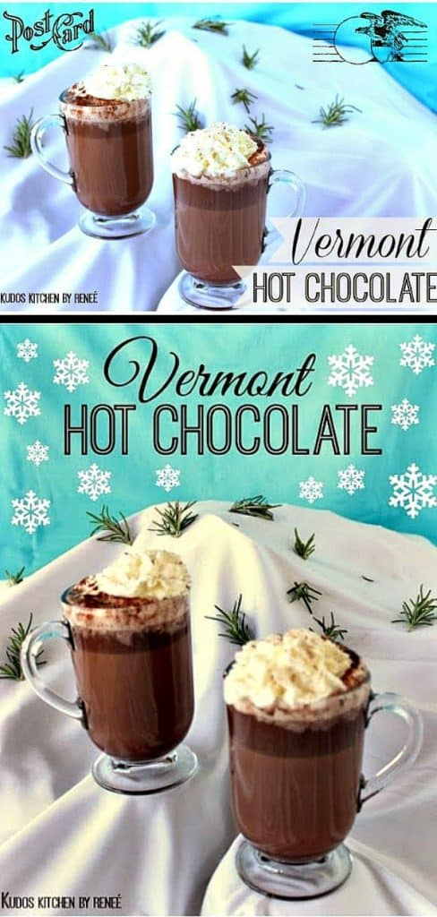 Vertical image of Vermont hot chocolate on a snow covered mountain with a title text overlay graphic.
