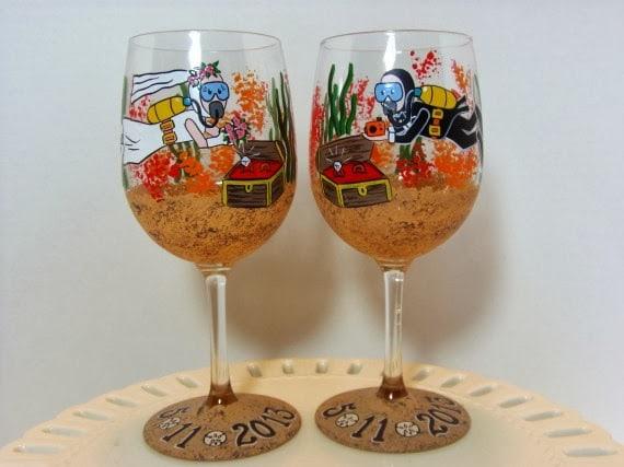 Kudos Kitchen By Renee Custom Scuba Diver Wine Glasses
