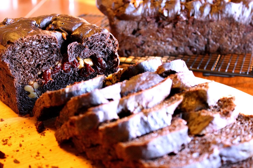 Sliced Chocolate cherry yeast bread on a wire rack