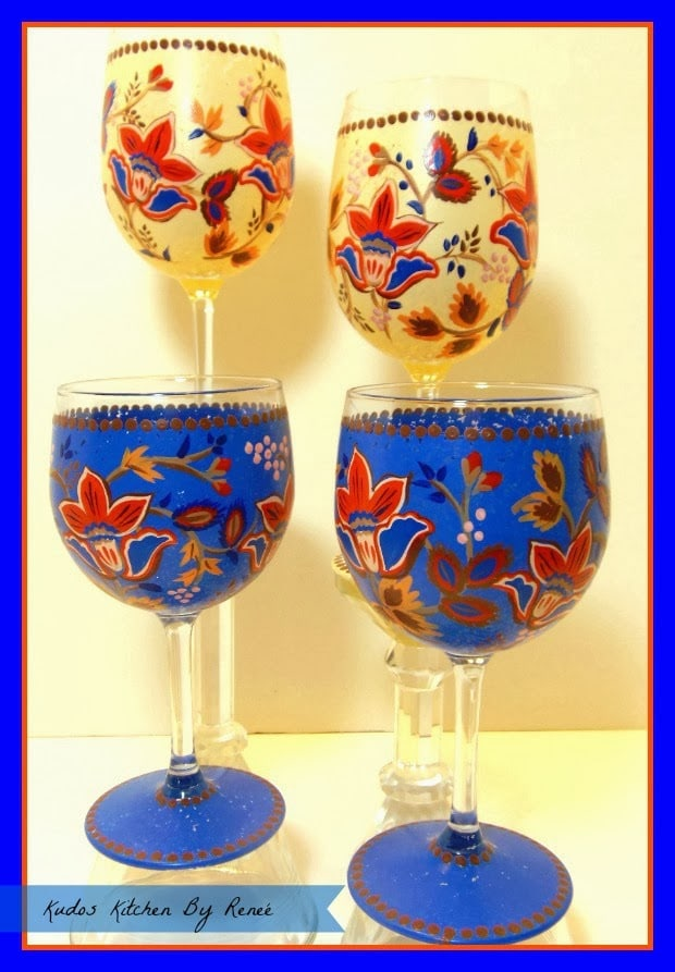 Masala Inspired Painted Wine Glasses