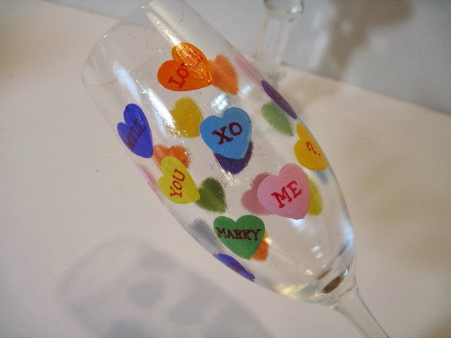 Conversation Hearts Painted Champagne Flute