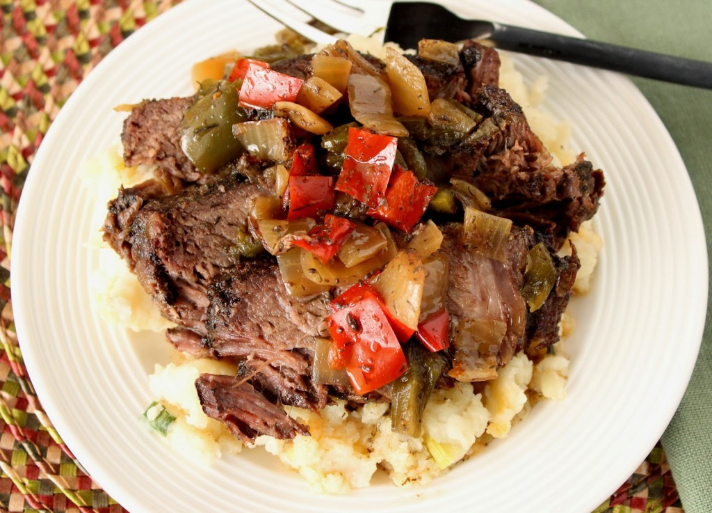 Kudos Kitchen By Renee - Slow Cooker Beef with Peppers, Onions and Dill Recipe
