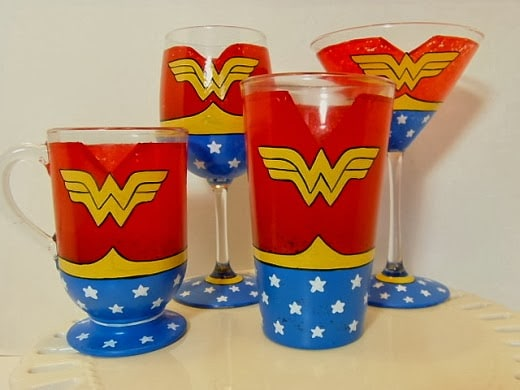 Kudos Kitchen By Renee - Wonder Woman Painted Glassware