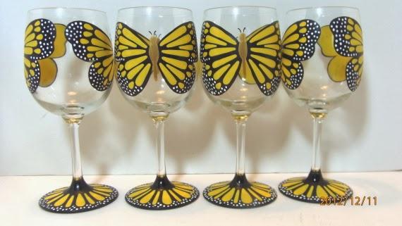 Kudos Kitchen By Renee - Yellow Monarch wine glasses