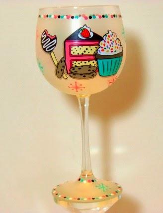 Cake and cupcake wine glass