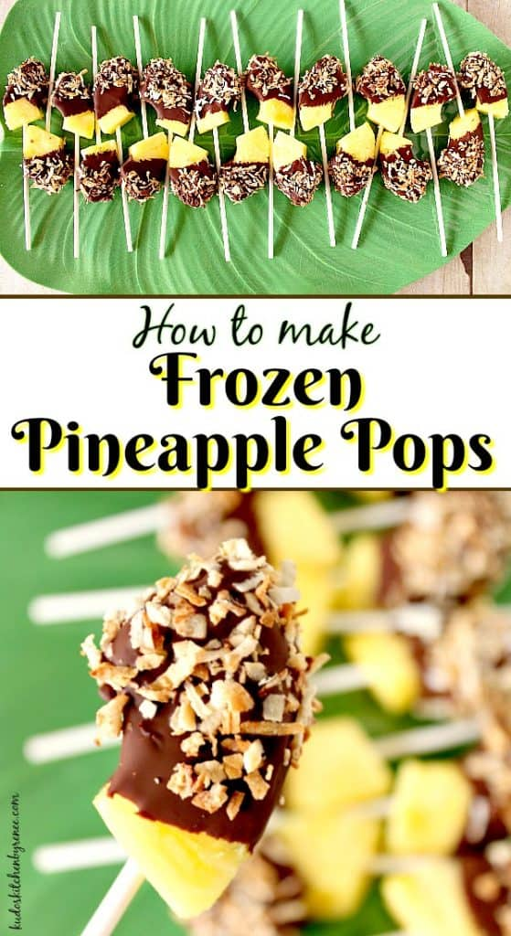Vertical title text collage image of frozen pineapple pops on a green leaf platter.