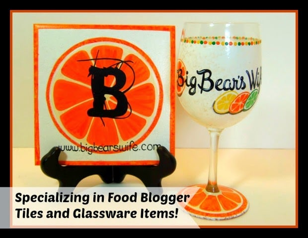 Food blogger wine glass and trivet tile