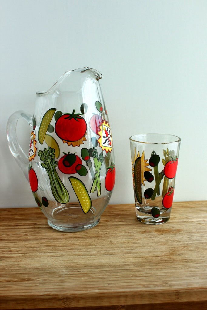 Bloody Mary Painted Pitcher and Glass