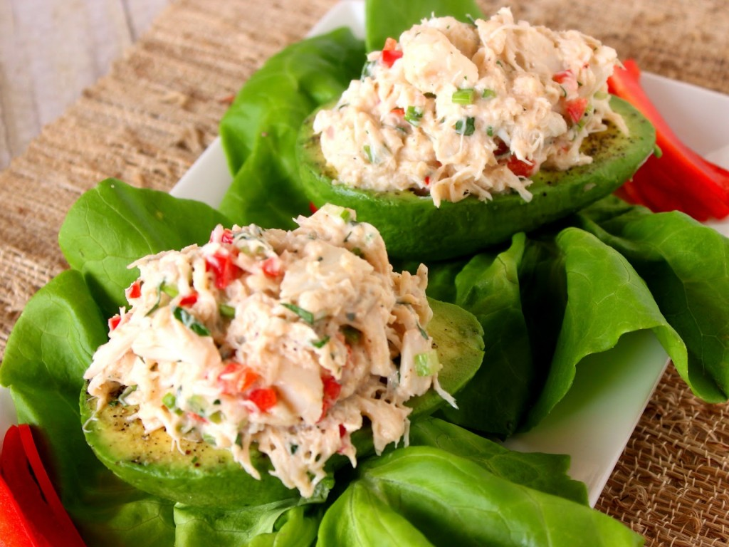 Crab Salad Stuffed Avocados Recipe via Kudos Kitchen By Renee