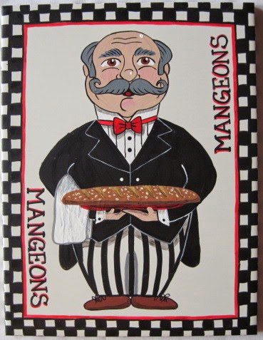 French Bread Waiter Hand Painted Trivet - kudoskitchenbyrenee.com