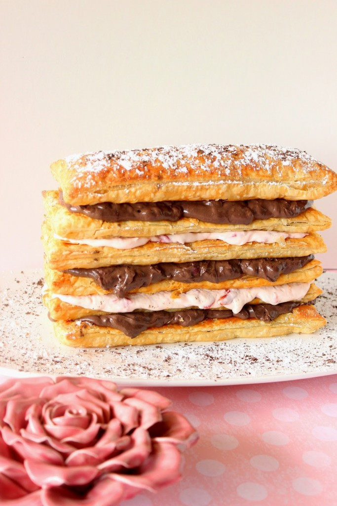 Chocolate Cherry Cream Pastry Tower Recipe via Kudos Kitchen by Renee