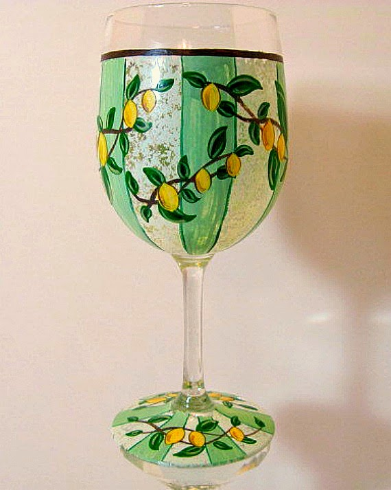 Lemon Stripe Painted Wine Glass via Kudos Kitchen by Renee