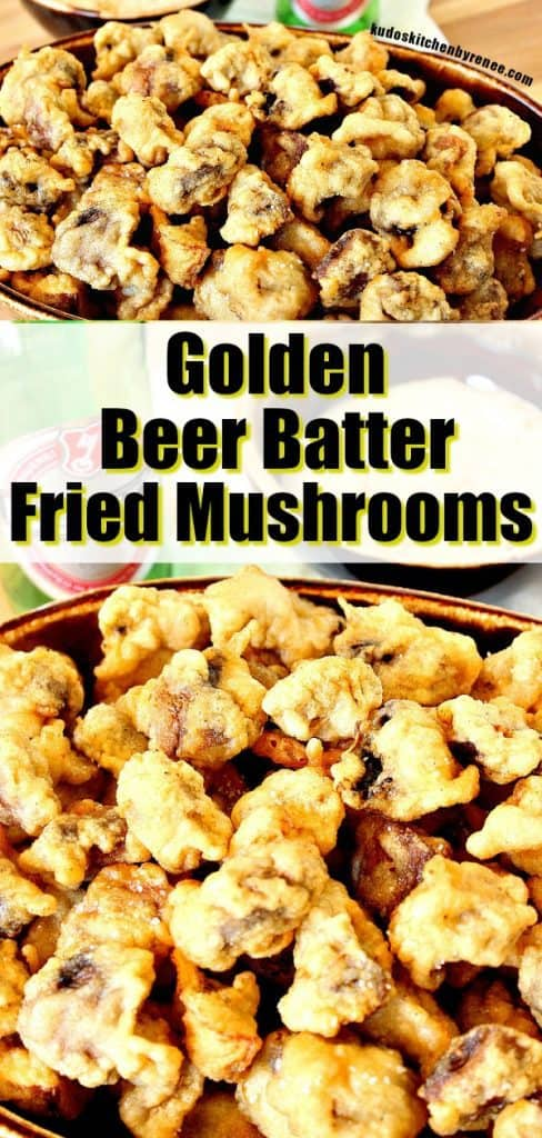 Title text vertical collage image of fried mushrooms.