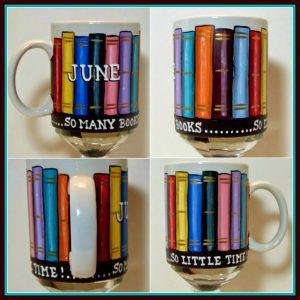 hand painted library books coffee mug - kudoskitchenbyrenee.com