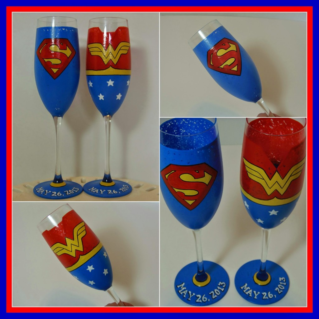 Super Hero painted Champagne flutes - kudoskitchenbyrenee.com