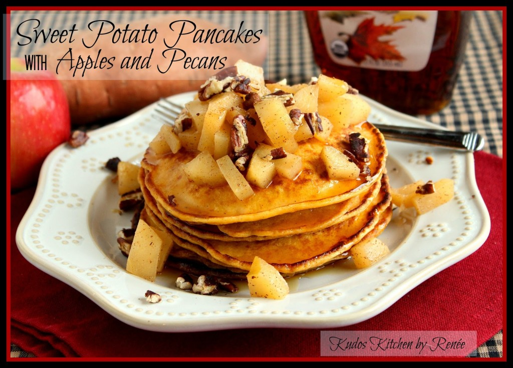 A stack of sweet potato pancakes with apples and pecan topping