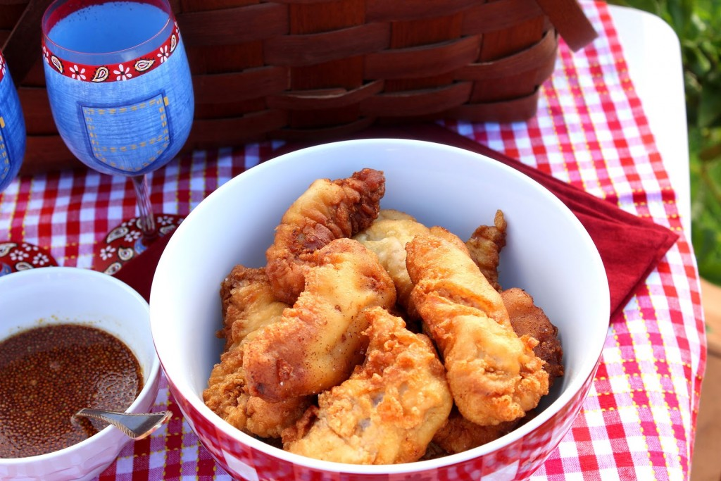 Waffle Batter Fried Chicken with Maple Mustard Dipping Sauce - kudoskitchenbyrenee.com
