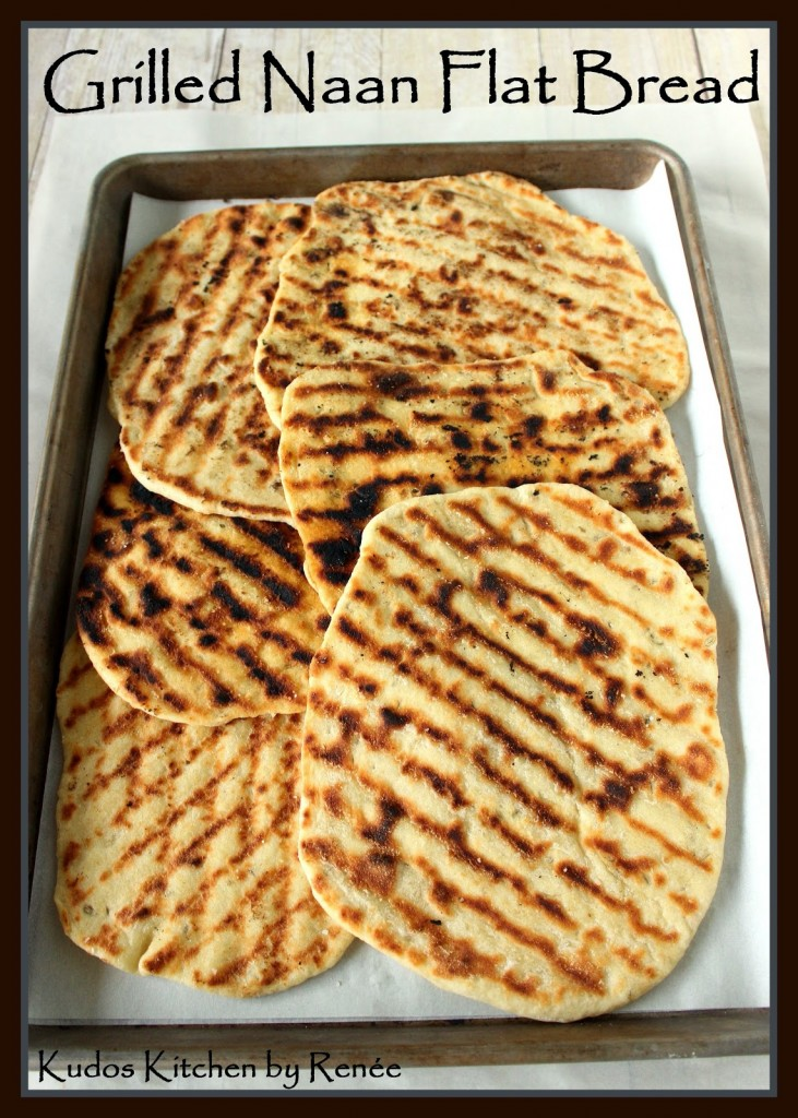 Grilled Naan Flat Bread Recipe via kudoskitchenbyrenee.com