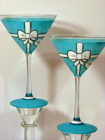 Tiffany Box Martini Glasses via kudoskitchenbyrenee.com