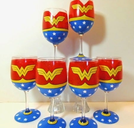 Wonder Woman Painted Wine Glasses via kudoskitchenbyrenee.com