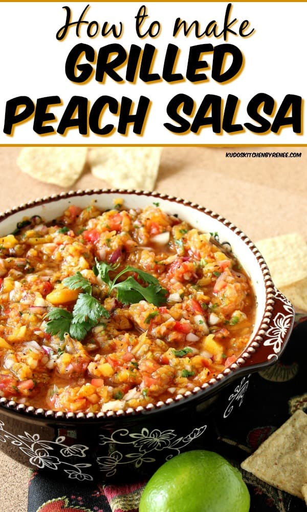 Title text vertical image of peach salsa in a bowl with cilantro.