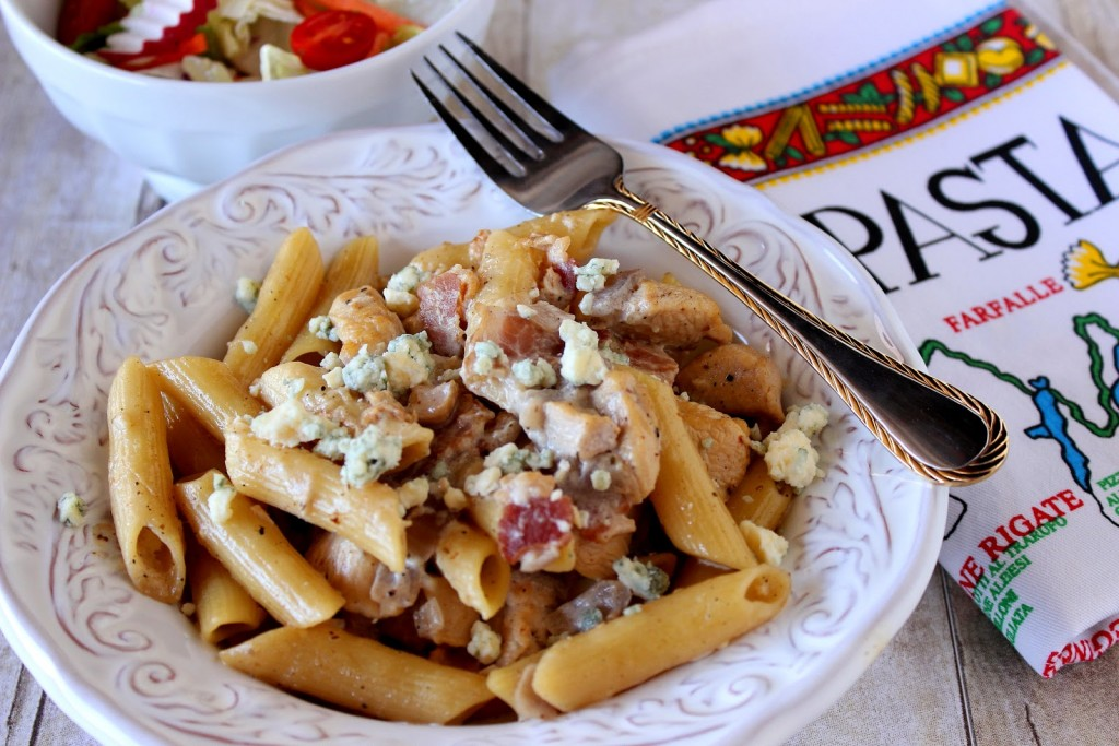 Chicken Penne Pasta with Bacon and Blue Cheese Recipe