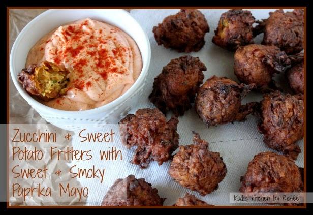 Zucchini and Sweet Potato Fritters with Sweet and Smoky Paprika Mayo