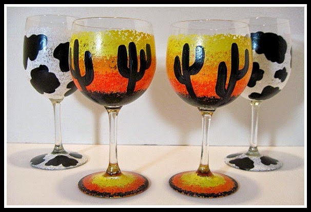 Arizona Sunset and Cow Print Painted Wine Glasses via kudoskitchenbyrenee.com
