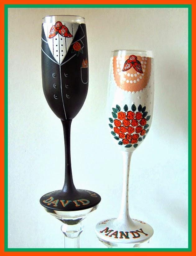 Western Themed Custom Painted Wedding Champagne Flutes - kudoskitchenbyrenee.com