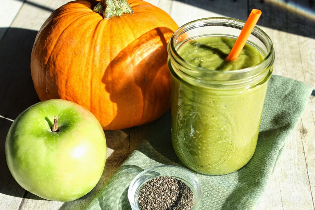This is super healthy and delicious. The greens go totally undetected and the pumpkin adds a nice, healthy surprise.
