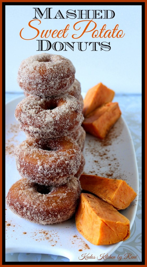 Mashed Sweet Potato Donuts are crispy on the outside, and soft and pillowy on the inside. Not to mention they're completely coated with an irresistible cinnamon and sugar mixture which is sure to have you doing the happy donut dance! - kudoskitchenbyrenee.com