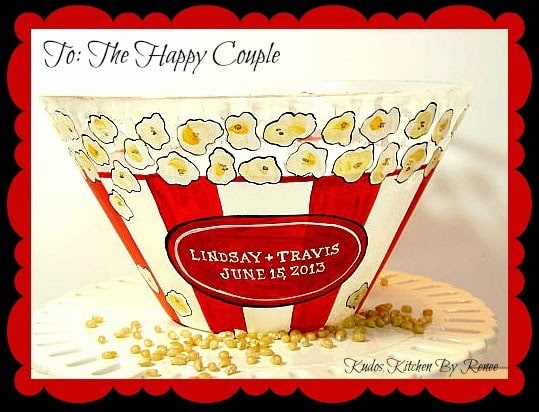 Hand Painted and Personalized Popcorn Bowls / www.kudoskitchenbyrenee.wazala.com