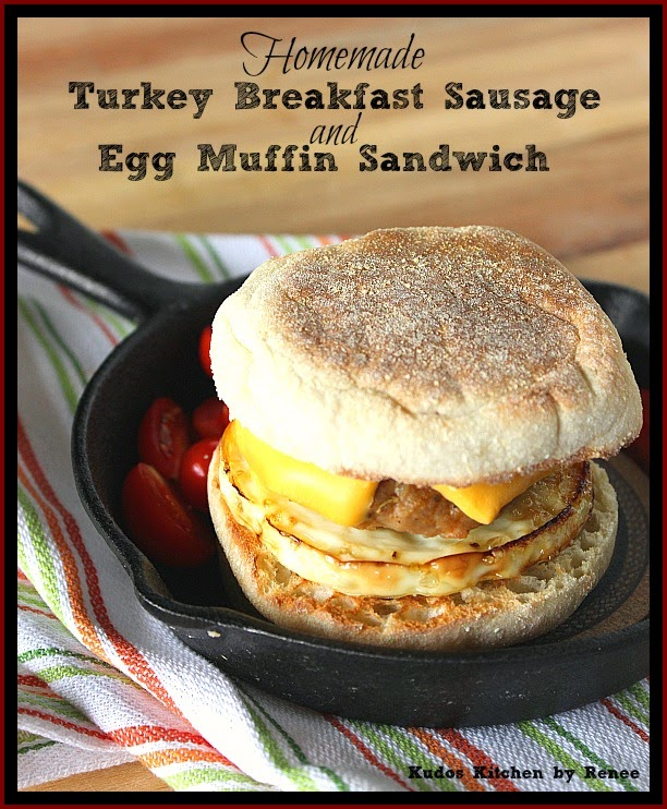 Homemade Turkey Breakfast Sausages and eggs cooked in tuna cans make a delicious sandwich when pilled on a buttered English muffin.