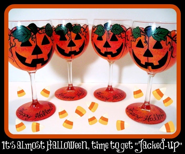 Hand painted jack-o-lantern wine glass set