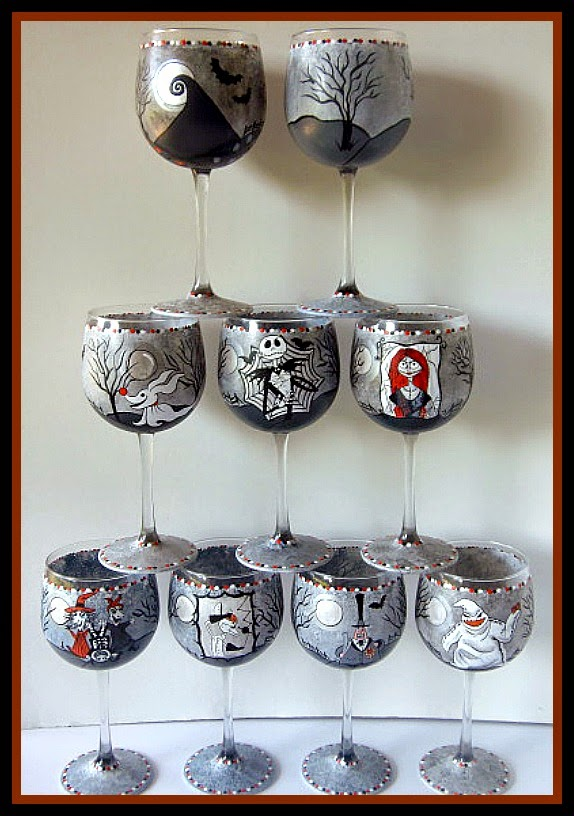 Set of 8 Nightmare Before Christmas painted wine glasses / www.kudoskitchenbyrenee.com
