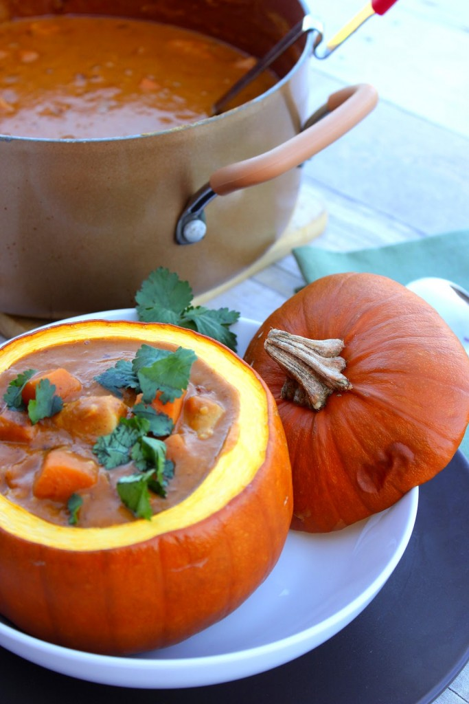 Serve this Peanut Butter, Chicken and Pumpkin Stew Recipe in a roasted pumpkin for drama and presentation.