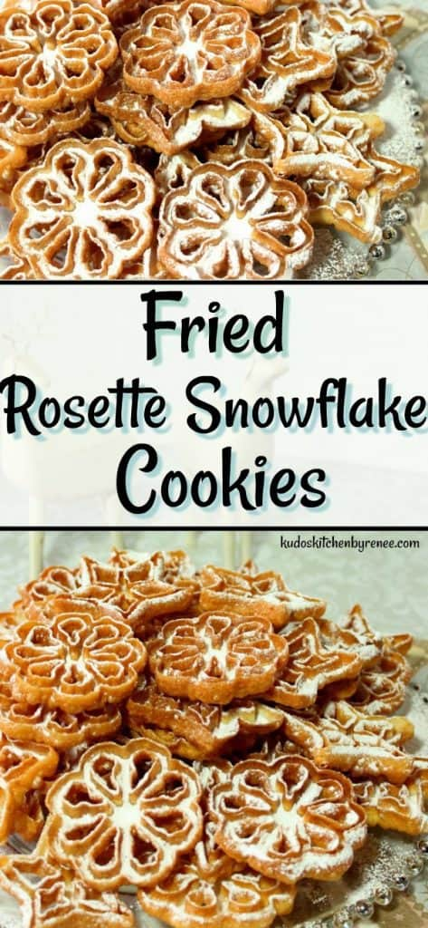 Part of the fun of eating a Rosette Snowflake Cookie is the dusting of confectioners sugar that will snow down the front of your shirt as you crunch into these crispy little holiday treats. There's no way around it so just give in and let it snow! - kudoskitchenbyrenee.com