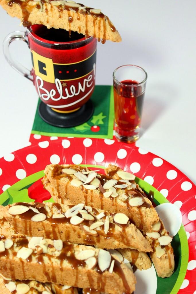 Amaretto Coconut Biscotti with Amaretto Salted Caramel Drizzle Recipe