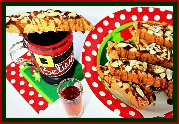 Amaretto Coconut Biscotti with Amaretto Salted Carame Drizzle Recipe.