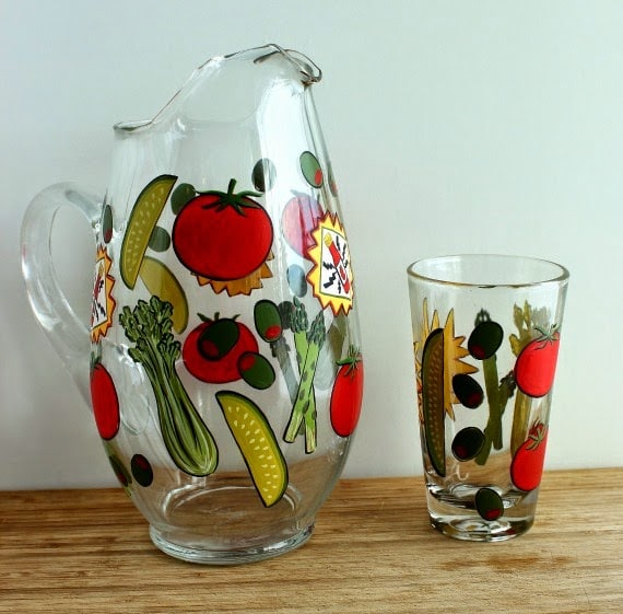 Blood Mary Hand Painted Pitcher and Glass